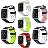 Podoru for Apple Watch band, Soft Silicone Replacement watchband 38mm 42mm with Stainless Steel Buckle for Series 1 Series 2 Series 3 (Leaf 7 42)
