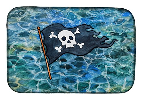 BB5342DDM Pirate Flag Dish Drying Mat, 14 x 21, Multicolor (Streamer Foam Insert)