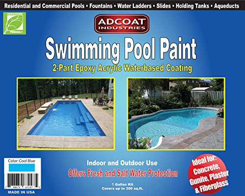 AdCoat Swimming Pool Paint, 2-Part Epoxy Acrylic Waterbased Coating, 1 Gallon Kit - Cool Blue Color - Aqueduct Fountain
