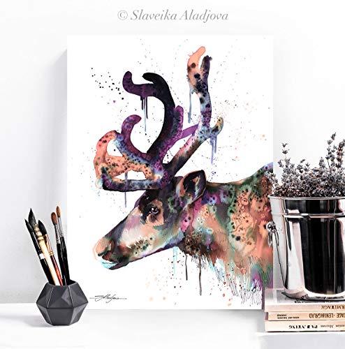 - Reindeer watercolor painting print by Slaveika Aladjova