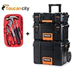 RIDGID Professional Tool Storage Cart and Organizer Stack, 3 Tool Box Combination and Toucan City Tool Kit ( 15- Pieces )