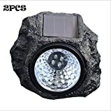 KingYuan Decorative Garden Rock Solar Light Wireless with LED Light - Set of 2