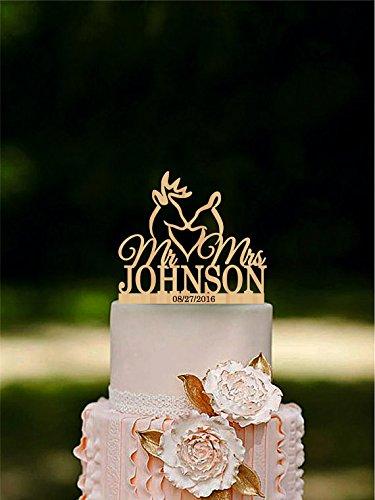 Deer Wedding Cake Topper The Hunt Is Over Cake Topper Last Name topper Mr & Mrs Rustic Hunting Cake Topper