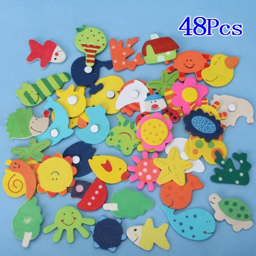 ReNext Wooden Fridge Magnet Sticker Cute Funny Refrigerator Toy - 48 Pcs