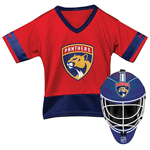 Franklin Sports Florida Panthers Kid's Hockey Costume Set - Youth Jersey & Goalie Mask - Halloween Fan Outfit - NHL Official Licensed -
