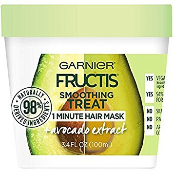 Garnier Fructis Smoothing 1 Minute Hair Mask, Avocado, 3.4 fl. oz. (Pack of 2)