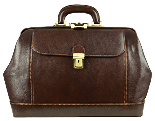Time Resistance Leather Doctor Bag with Key Lock | Medical, Hand Dyed by Vegetable Tanning, Satchel, Briefcase, Unisex Dark Brown