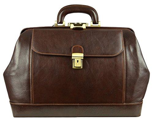 Leather Doctor Bag, Leather Medical Bag, Satchel Bag, Vintage style Doctor Bag,Leather Briefcase Brown - Time Resistance