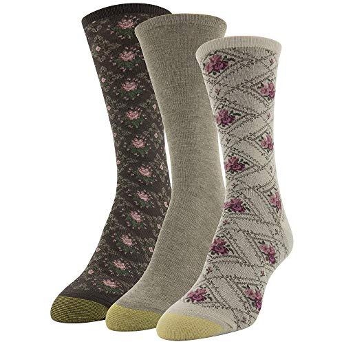 - Gold Toe Women's Diamond Floral Dress Crew Socks, 3 Pairs, Khaki Floral/Taupe/Chocolate Diamonds, Shoe Size: 6-9