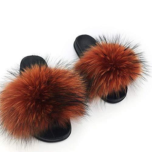 (Maeshow New Raccoon Fur Women Slippers Sandals Summer Beach Outdoor Flat Sandals Slides Flip Flops Shoes Fluffy Hairy (UK3.5/US5.5/EUR 36-37,Caramel Oak))