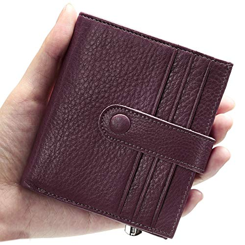 Zipped Compact Wallet - Reeple Rfid Blocking Women Minimalist Wallet Leather Small Bifold Purse with Zip Slim Compact Ladies Credit Card