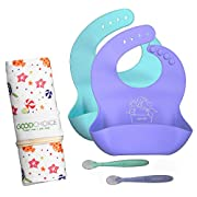 Good Choice Waterproof Silicone Baby Bibs & Baby Spoons - Easy to Clean Silicone Bib for Baby Boy or Girl - 2 Colors Unisex Toddler Bibs Gift Set - FREE Cotton Roll Travel Bag!