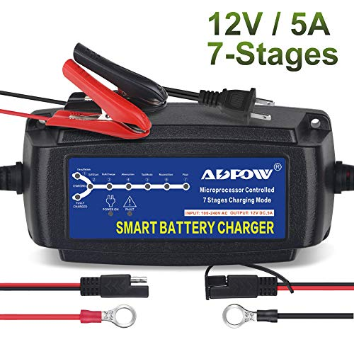 ADPOW 12V 5A Automatic Battery Charger Maintainer Smart Portable Deep Cycle Trickle Charger 7-Stages for Car Boat Motorcycle Lawn Mower RV SLA ATV AGM GEL CELL WET & FLOODED Lead Acid Battery