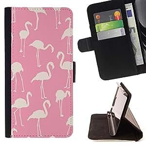 - Queen Pattern FOR Samsung ALPHA G850 /La identificaci????n del cr????dito ranuras para tarjetas tir????n de la caja Cartera de cuero cubie - pink flamingo pattern white bird Flo