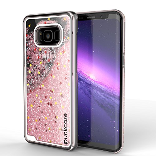 Galaxy S8 Case, Punkcase [Liquid Series] Protective Dual Layer Floating Glitter Cover with lots of Bling & Sparkle + PunkShield Screen Protector for Samsung S8 [Rose Gold] (Series Floating)