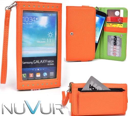 EXPOSE' Series: Orange Green Clutch Wallet Phone Holder May Fit ZTE Iconic Phablet NuVur ™ |ESXLEXG1|
