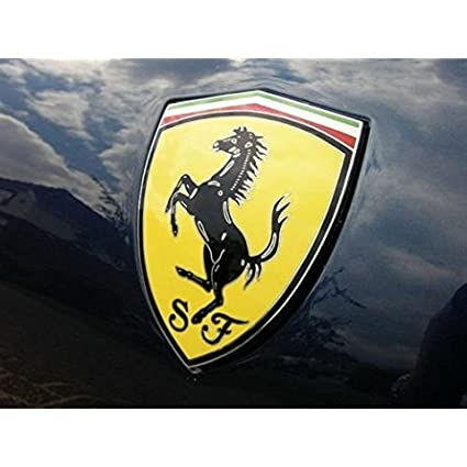 Automaze Ferrari SJ Car 3D Metal Chrome Grille Badge Car Decal Logo Badge