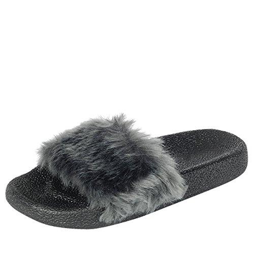 Voor Altijd Link Womens Open Teen Slide Nepbont Platte Sandaal Slip Op Flip Flop Slippers Grijs