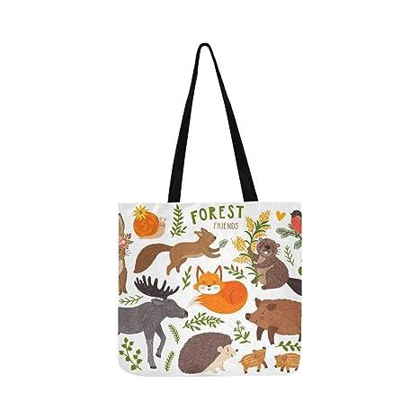 Conjunto de vectores Lindo bosque Animales Fox Lienzo Tote ...