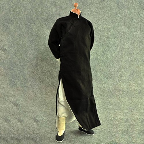 MonkeyJack 1/6 Black Robe Costume Yip Man Kung Fu Bruce Lee Suit for Enterbay Hot Toys Clothing (Bruce Lee Outfits)