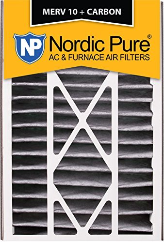 Nordic Pure 16x25x5 (4-7/8 Actual Depth) MERV 10 Pleated Plus Carbon Trion Bear 255649-105 Replacement AC Furnace Air Filter, 1 Pack