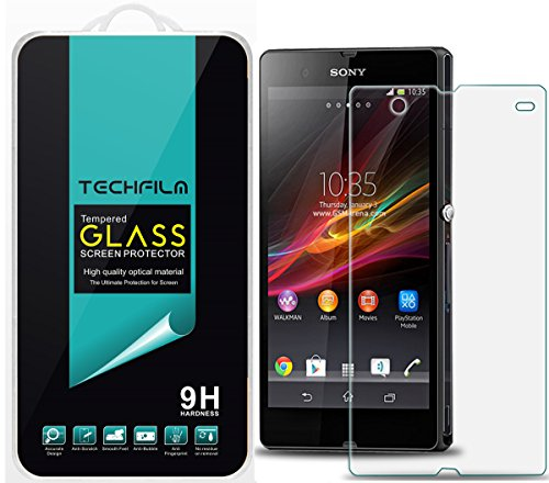 TechFilm- Sony Xperia Z [Tempered Glass] Screen Protector, Premium Ballistic Glass Round Edge [0.3mm] Ultra-Clear Anti-Scratch, Anti-Fingerprint, Bubble Free [1 Pack]- Retail Packaging
