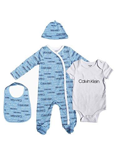 Calvin Klein Baby Boy's 4 Piece Gift Set (CK Monochrome Logo, 0-3 Months) by Calvin Klein