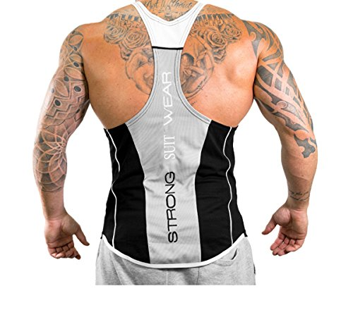 Men's Muscle Fitness Gym Tank Tops Bodybuilding Workout Sleeveless Vest (US - Large, Black and White)