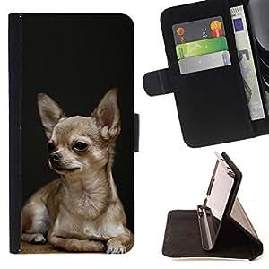 Momo Phone Case / Flip Funda de Cuero Case Cover - Chihuahua Perro Negro mascotas Perrito de oro; - Samsung Galaxy S4 IV I9500