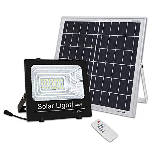 Brillihood 40W LED Solar Panel Security Light, 2000 Lumens, Ourdoor Solar Powered Floodlight Waterproof Street Light with Remote Control for Lawn, Yard, Garden, Gutter, Swimming Pool, Fencing, - Panel Remote Solar