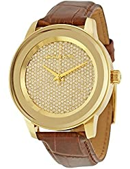 Womens Michael Kors Mk2455 Kinley Brown Leather Glitz Gold Tone Watch