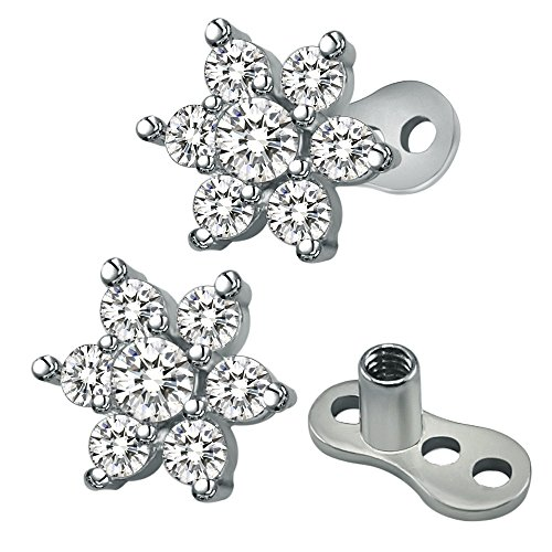 14g Flower Cubic Zirconia Dermal Anchor Tops and base Surgical Steel Microdermals Body Piercings (White)