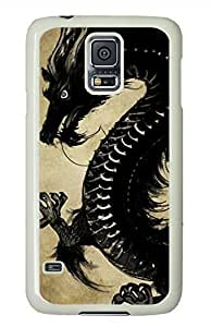 Chinese Black Dragon White Hard Case Cover Skin For Samsung Galaxy S5 I9600 Kimberly Kurzendoerfer