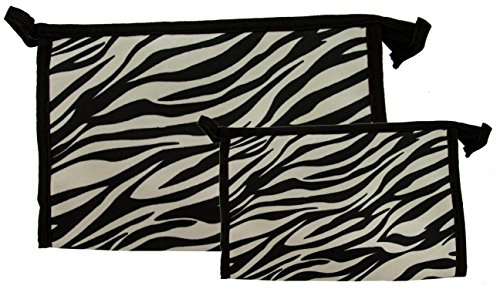 Northern Star Matching Zebra Travel Cosmetic, Makeup, Toiletry Bag, Lightweight Comes in Three Silver, Set of 2