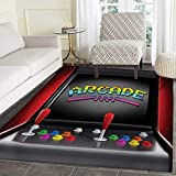 Video Games Bath Mats Carpet Arcade Machine Retro Gaming Fun Joystick Buttons Vintage 80s 90s Electronic Floor Mat Pattern 30''x40'' Multicolor