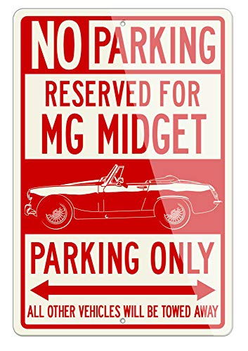 Legend Lines MG Midget Convertible 1961-1979 Reserved Parking Only Aluminum Sign - 8 by 12 inches (1, Small) - Great British Classic Car Gift ()