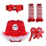 YiZYiF Baby Infant Girls Christmas Romper Tutu Set First Christmas Clothing Set Red Santa 0-3 Months