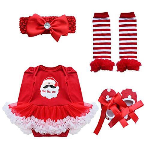 YiZYiF Baby Girls' Newborn 1st Christmas Costume Outfits Tutu Dress Up Red Santa 6-9 Months -