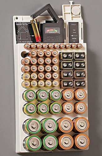 Battery Storage Rack Organizer Removable Tester Holds 66 Hol
