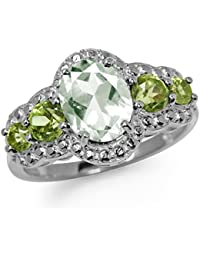 1.64ct. Natural Green Amethyst & Peridot White Gold Plated 925 Sterling Silver Cocktail Ring