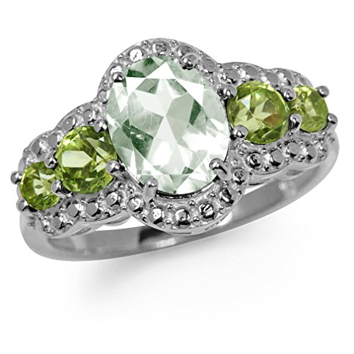 Amethyst Peridot Ring (1.64ct. Natural Green Amethyst & Peridot White Gold Plated 925 Sterling Silver Cocktail Ring Size 9)