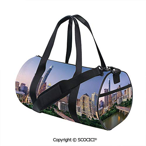 - Nylon Ribbon Sports Backpack,Austin Texas American City Bridge over the Lake Skyscrapers USA Downtown PictureSports and Fitness Essentials,(17.6 x 9 x 9 in) Multicolor