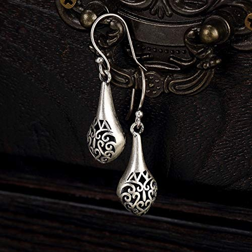 (Vintage Earrings S925 Sterling Silver Women Vase Openwork Totem Hooks Elegant Temperament High-End Personality Gift All Silver Jewelry)