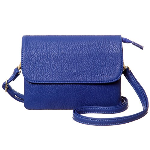 MINICAT Roomy Pockets Series Small Crossbody Bag Cell Phone Purse Wallet For Women(Blue-Small Size-RFID Blocking)