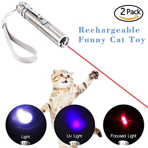 chic Cat Chase Toys, 2 Pack 3 IN 1 USB Rechargeable Interactive LED Light pointer Training Tool