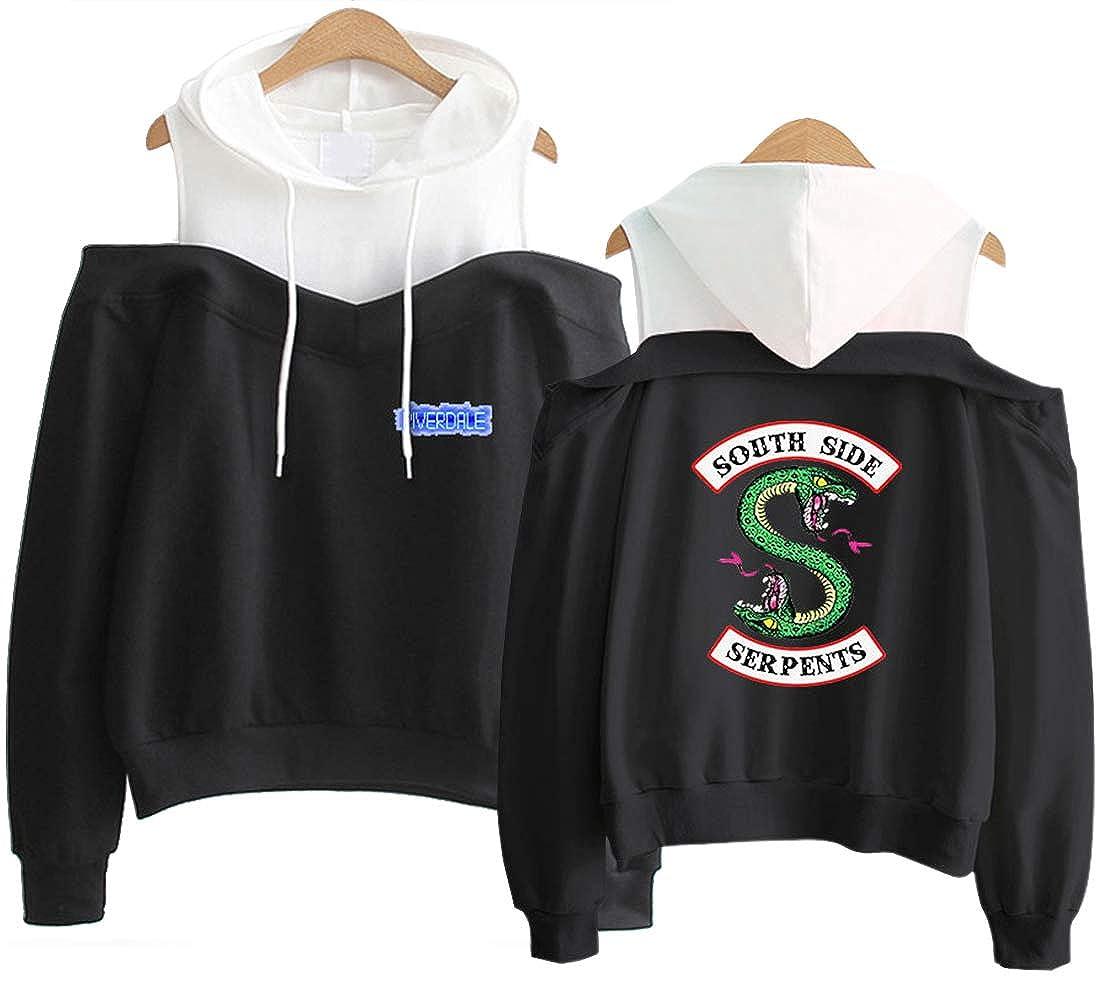 OLIPHEE Girls Spring Hoodies Riverdale Southside Serpents Cold Shoulder Pullover Crop Top Sweatshirt