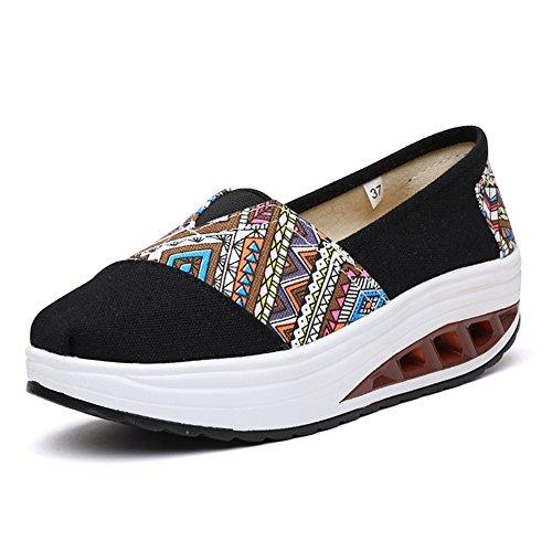 Zapatos Las de Lona Zapatos Sacudida Comodidad Sacudida la Sacudida atléticos Zapatos Zapatos Zapatos tamaño señoras de Negro de de Lona Zapatos de Mujer de Color 36 Gruesos de dXPwPAqx6