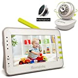 Video Baby Monitor with Camera and Audio, Large 4.3 Inches Screen, Extra 170 Degree Wide View Lens, Split Screen, Auto Night Vision, 2 Way Talk Back, Power Saving, Room Temperature by Moonybaby