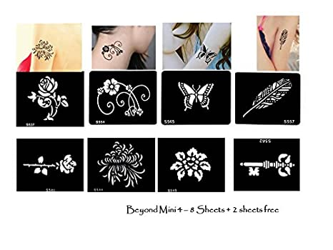 Tattoo Plantillas/Plantillas 8 + 2 pequeños Sheet para Henna Tattoo Glitter Tattoo Air Brush Tattoo Juego Mini 4: Amazon.es: Belleza