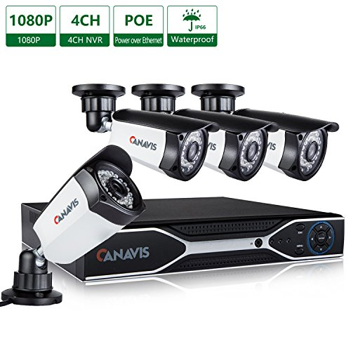 CANAVIS 4 Channel PoE NVR, 2 Megapixel (1920 x 1080p) Security Camera System 4 2MP Weatherproof Bullet IP Surveillance Cameras, 115ft Night Vision, No Hard Drive For Sale
